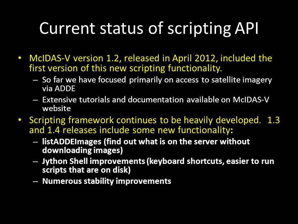 Current status of scripting API