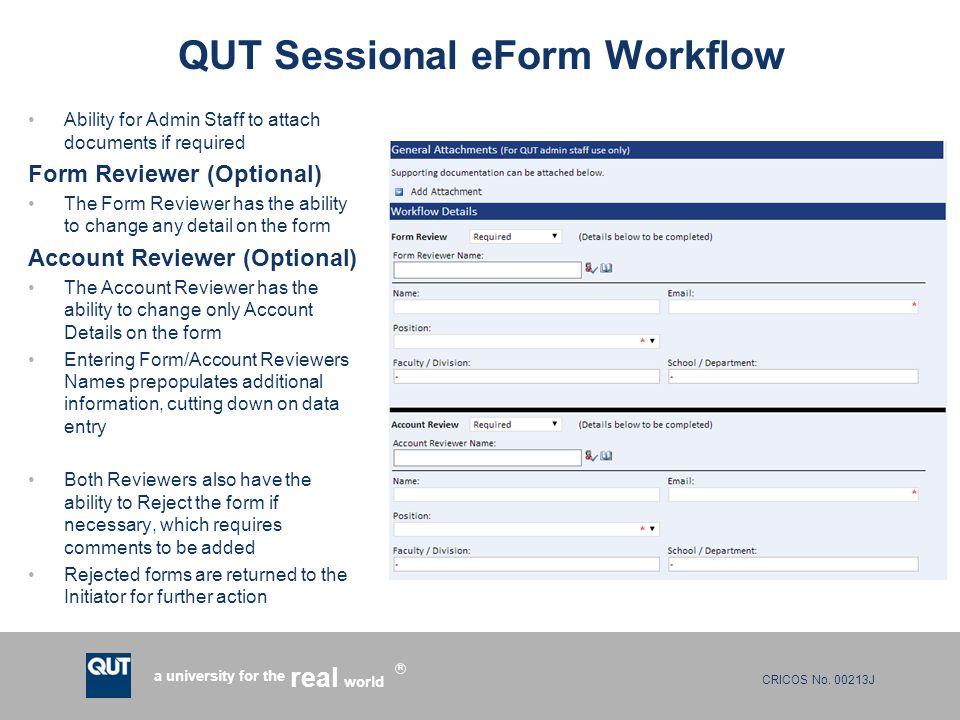 QUT Sessional eForm Workflow