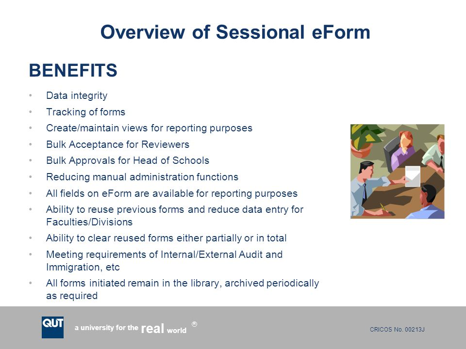 Overview of Sessional eForm