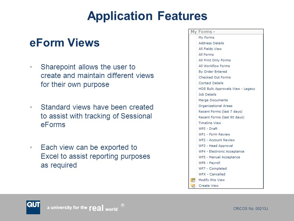 Application Features eForm Views