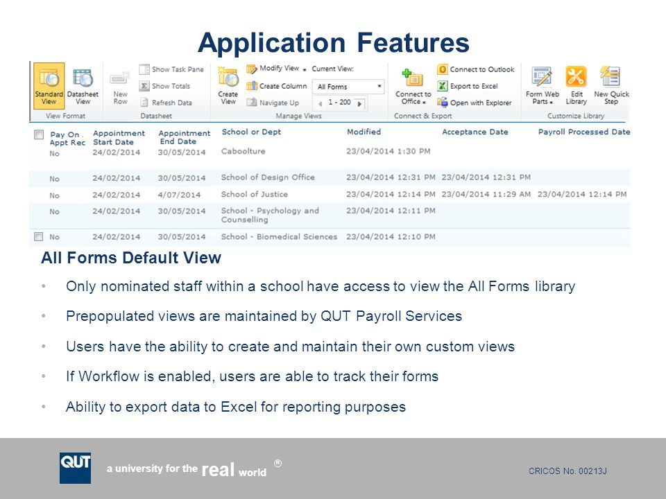 Application Features All Forms Default View