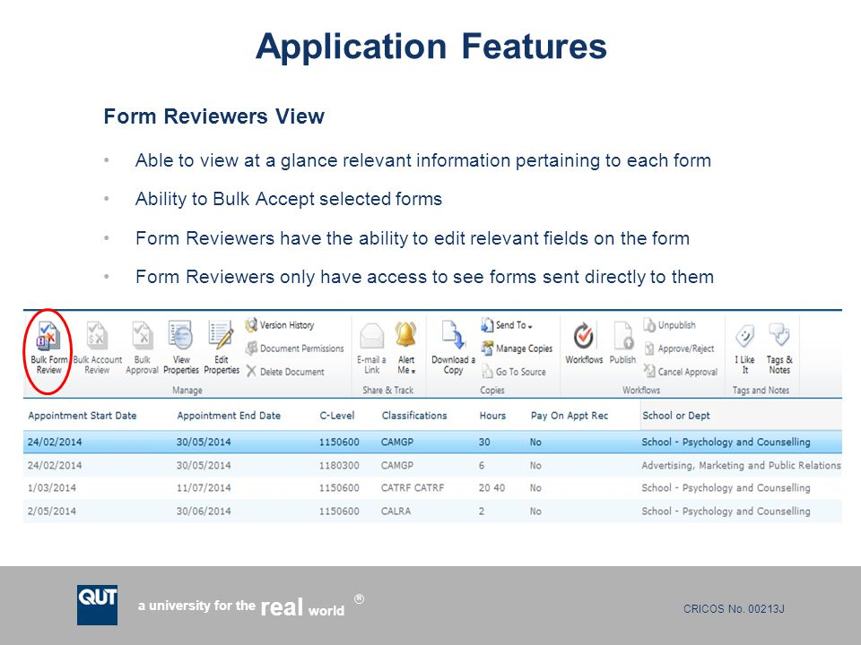 Application Features Form Reviewers View