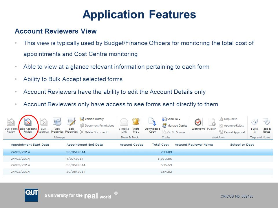 Application Features Account Reviewers View