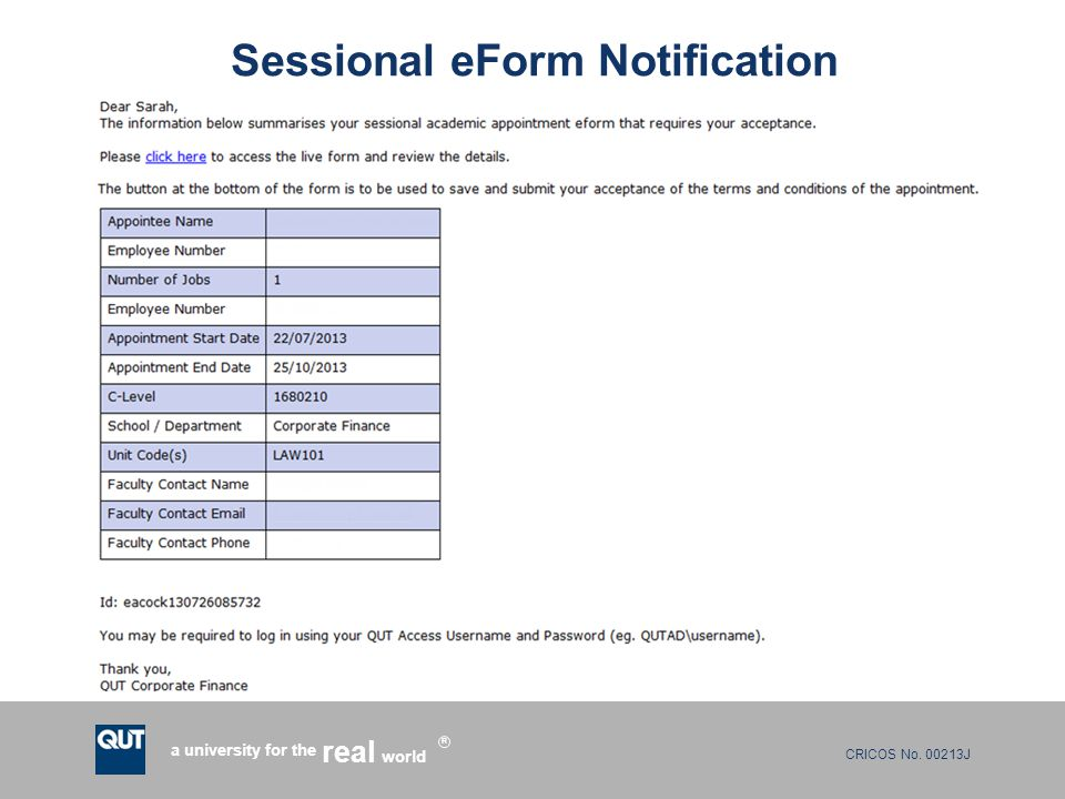 Sessional eForm Notification