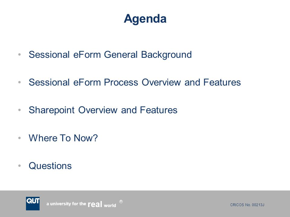 Agenda Sessional eForm General Background