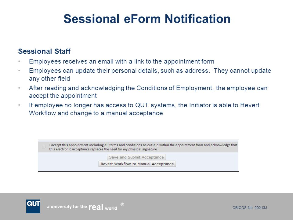 Qut Payroll Services Sessional Eform Presented By Christine