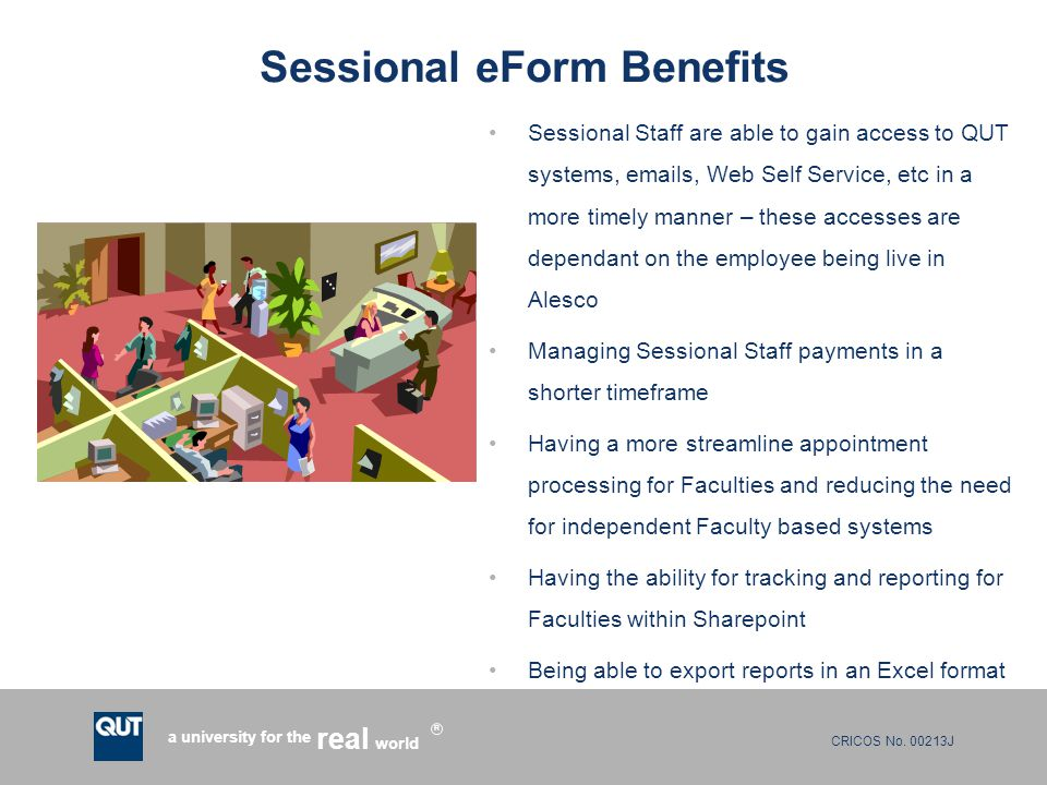 Sessional eForm Benefits