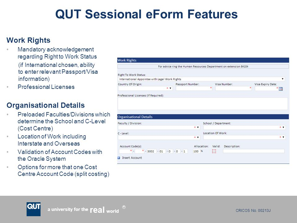QUT Sessional eForm Features