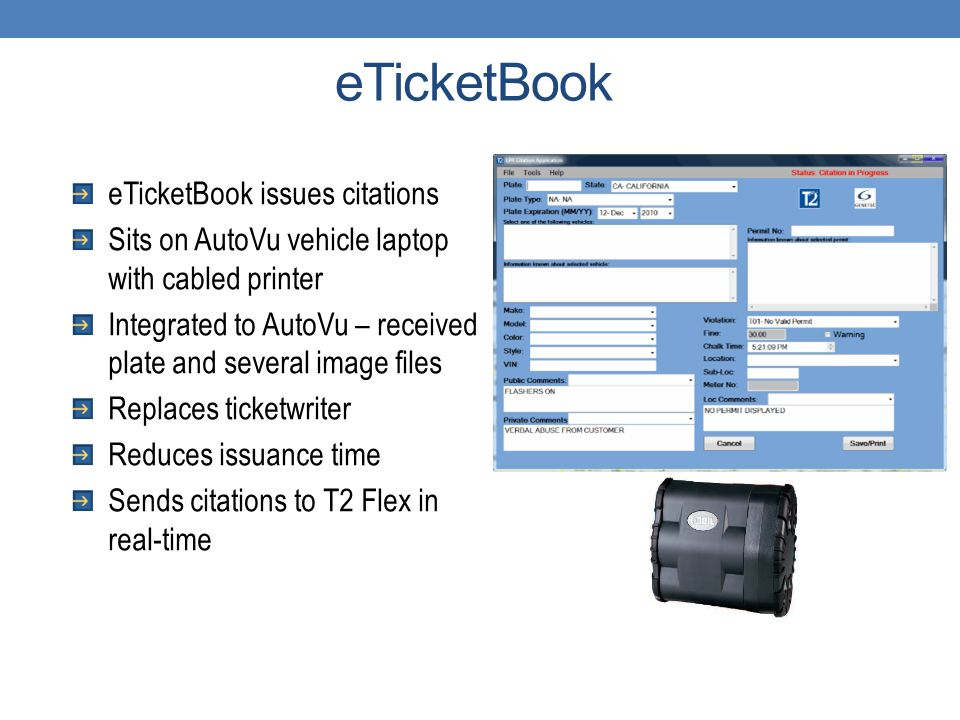eTicketBook eTicketBook issues citations