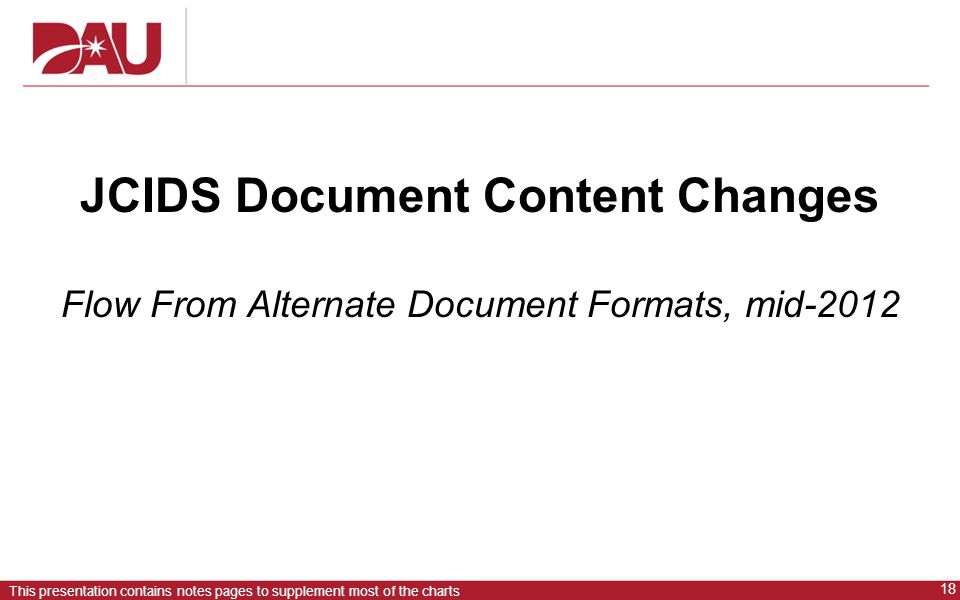 JCIDS Document Content Changes Flow From Alternate Document Formats, mid-2012