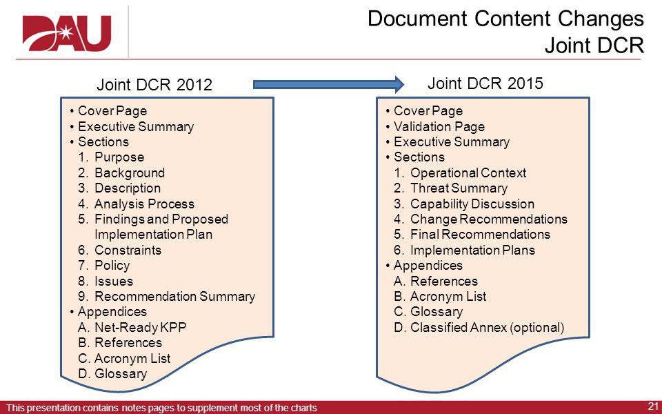 Document Content Changes Joint DCR