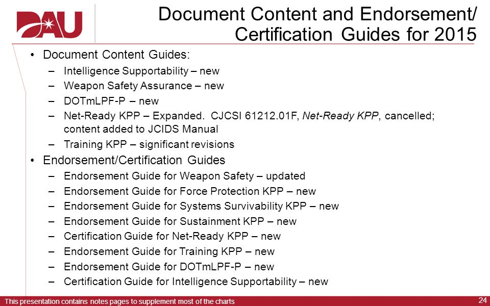 Document Content and Endorsement/ Certification Guides for 2015