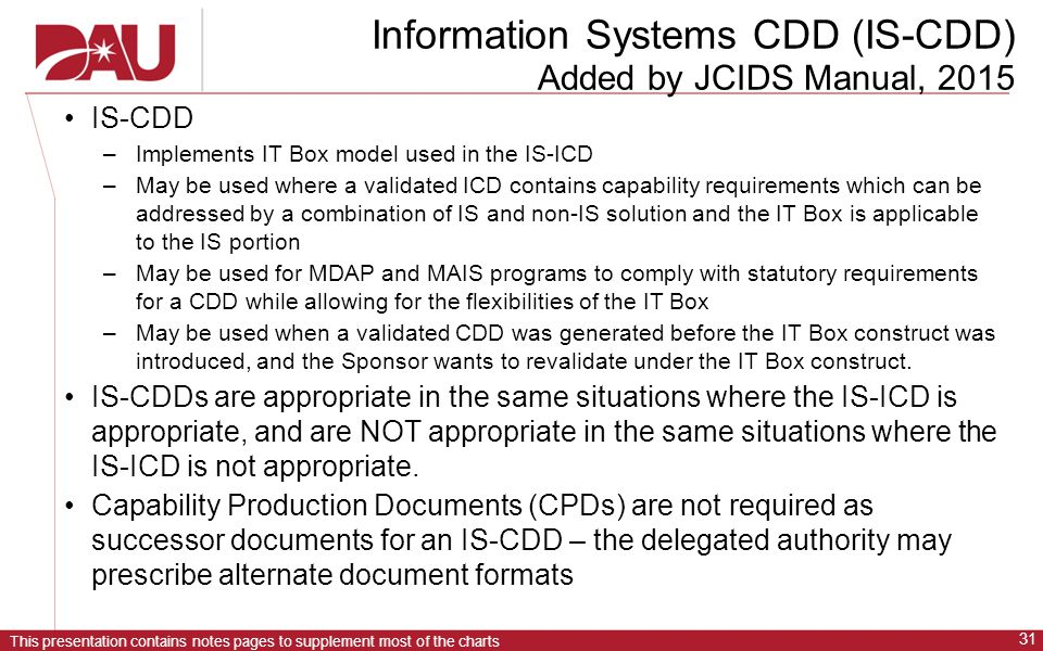 Information Systems CDD (IS-CDD) Added by JCIDS Manual, 2015