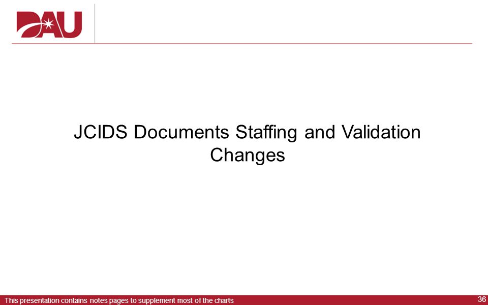 JCIDS Documents Staffing and Validation Changes