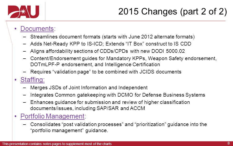2015 Changes (part 2 of 2) Documents: Staffing: Portfolio Management: