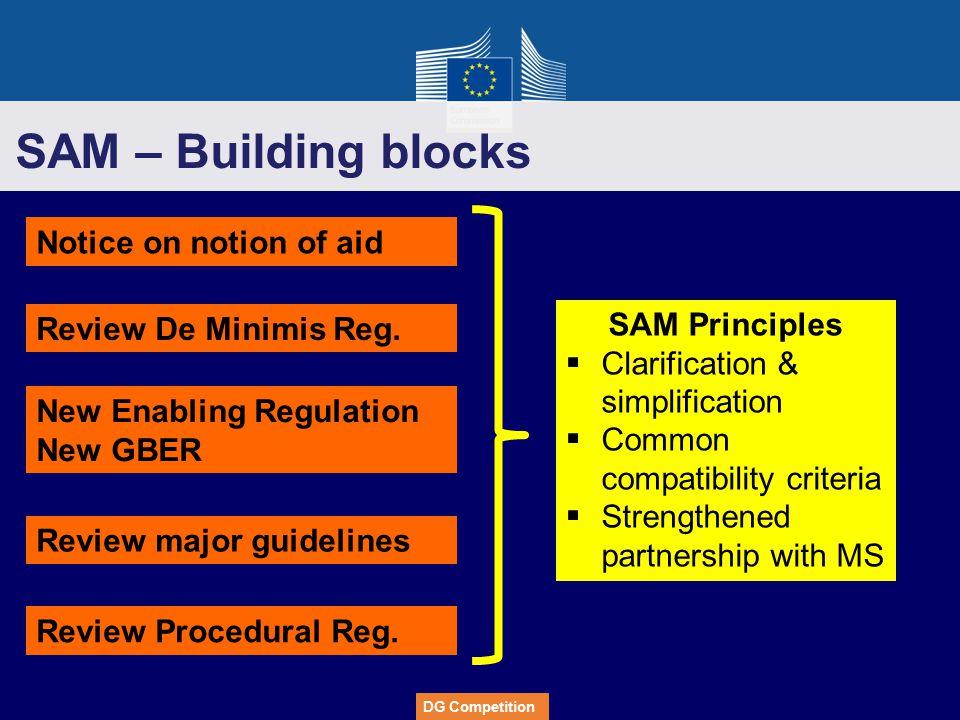 SAM – Building blocks Notice on notion of aid SAM Principles