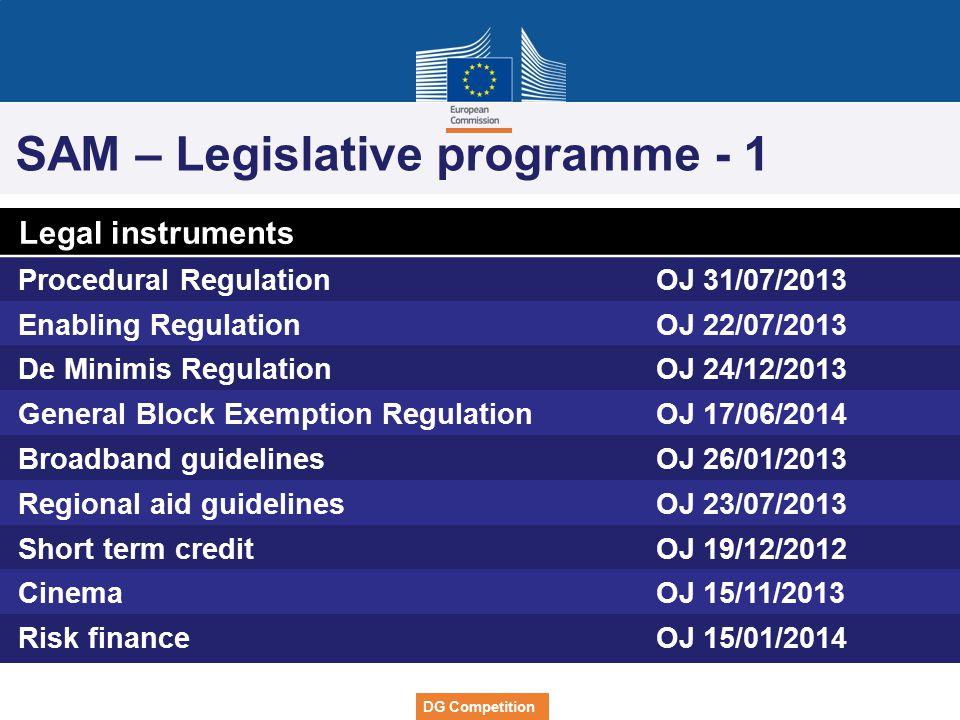 SAM – Legislative programme - 1