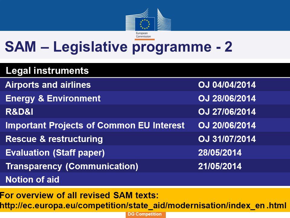 SAM – Legislative programme - 2