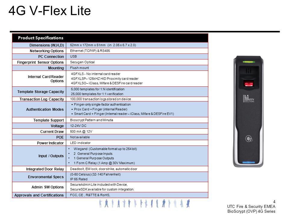 4G V-Flex Lite 4 Product Specifications Dimensions (W,H,D)