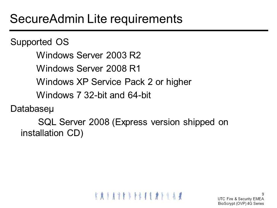 SecureAdmin Lite requirements