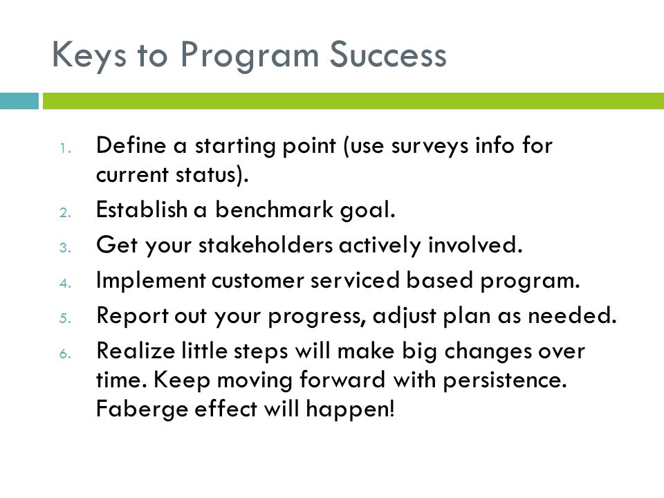 Keys to Program Success