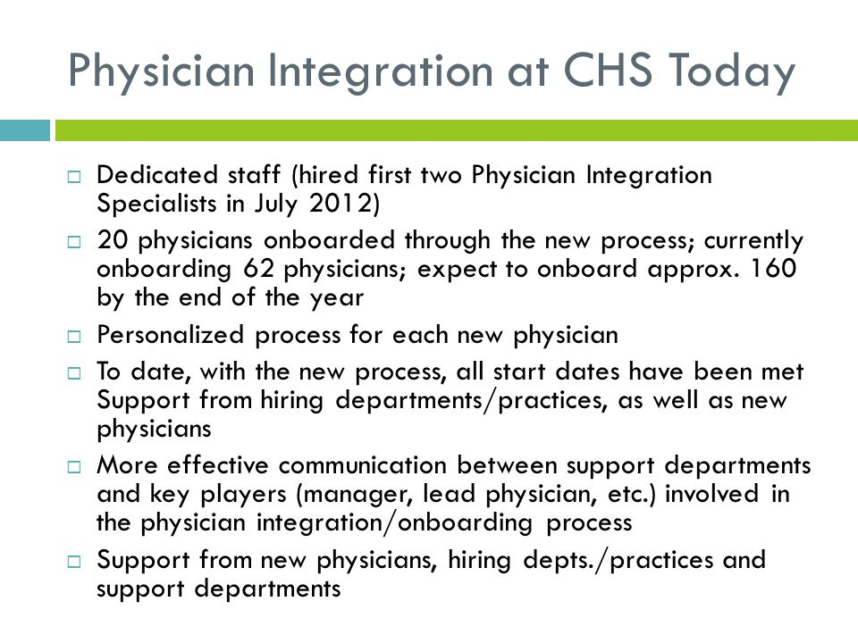 Physician Integration at CHS Today