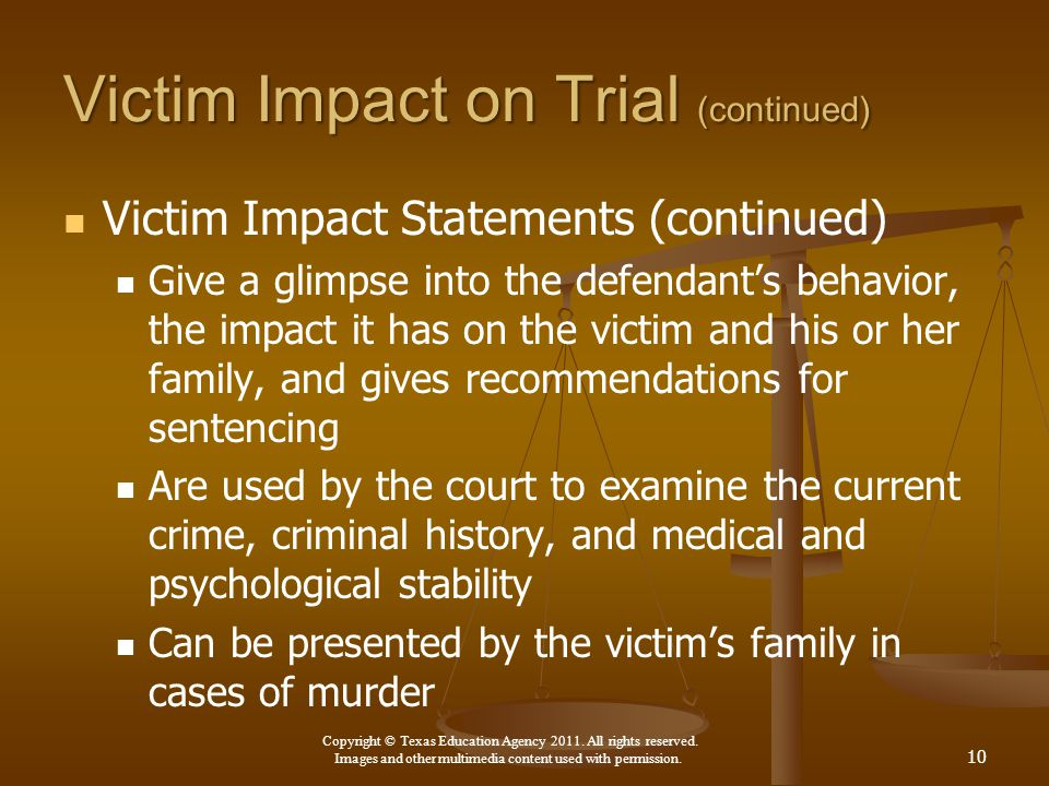 Victim Impact on Trial (continued)