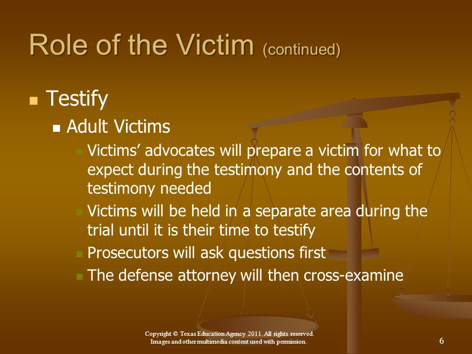 Role of the Victim (continued)