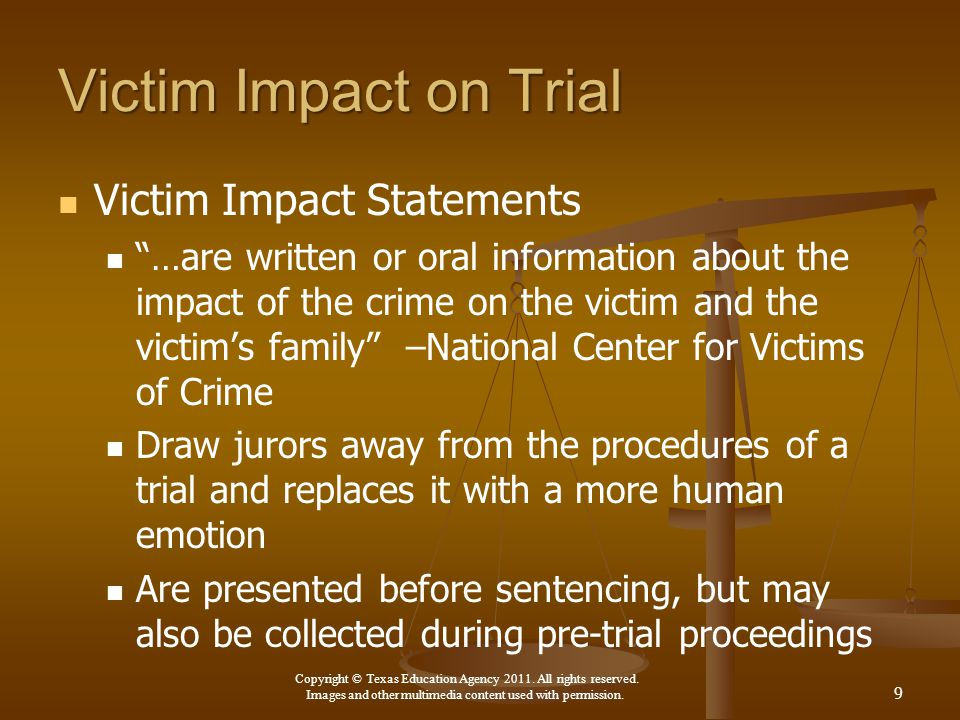 Victim Impact on Trial Victim Impact Statements
