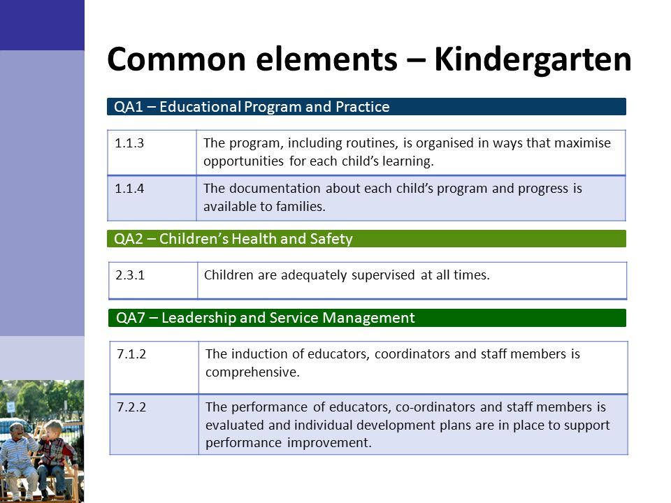 Common elements – Kindergarten