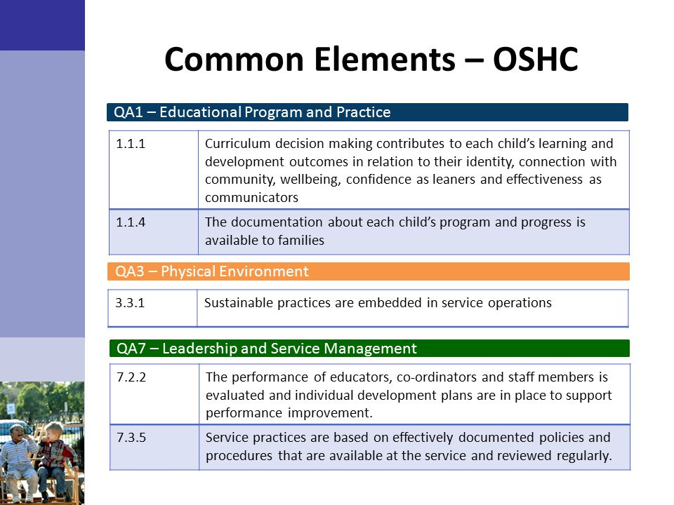 Common Elements – OSHC QA1 – Educational Program and Practice