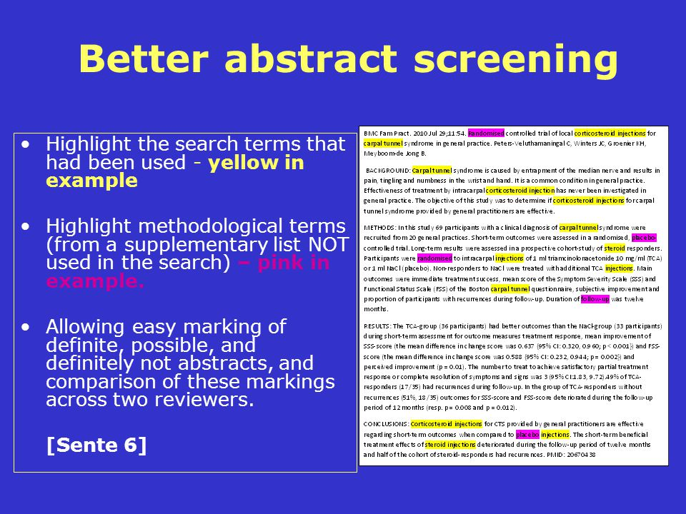 Better abstract screening