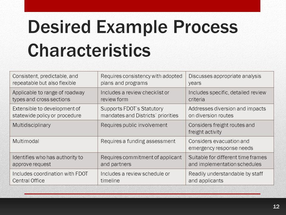 Desired Example Process Characteristics