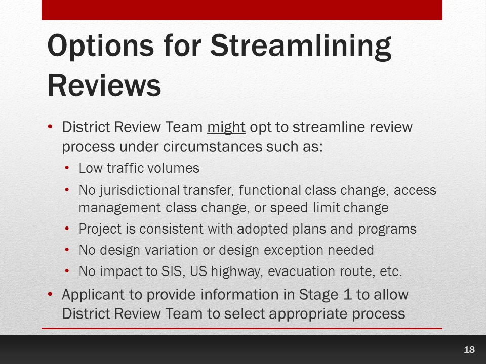Options for Streamlining Reviews