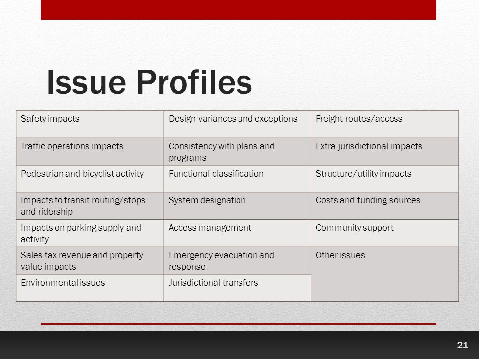 Issue Profiles Safety impacts Design variances and exceptions