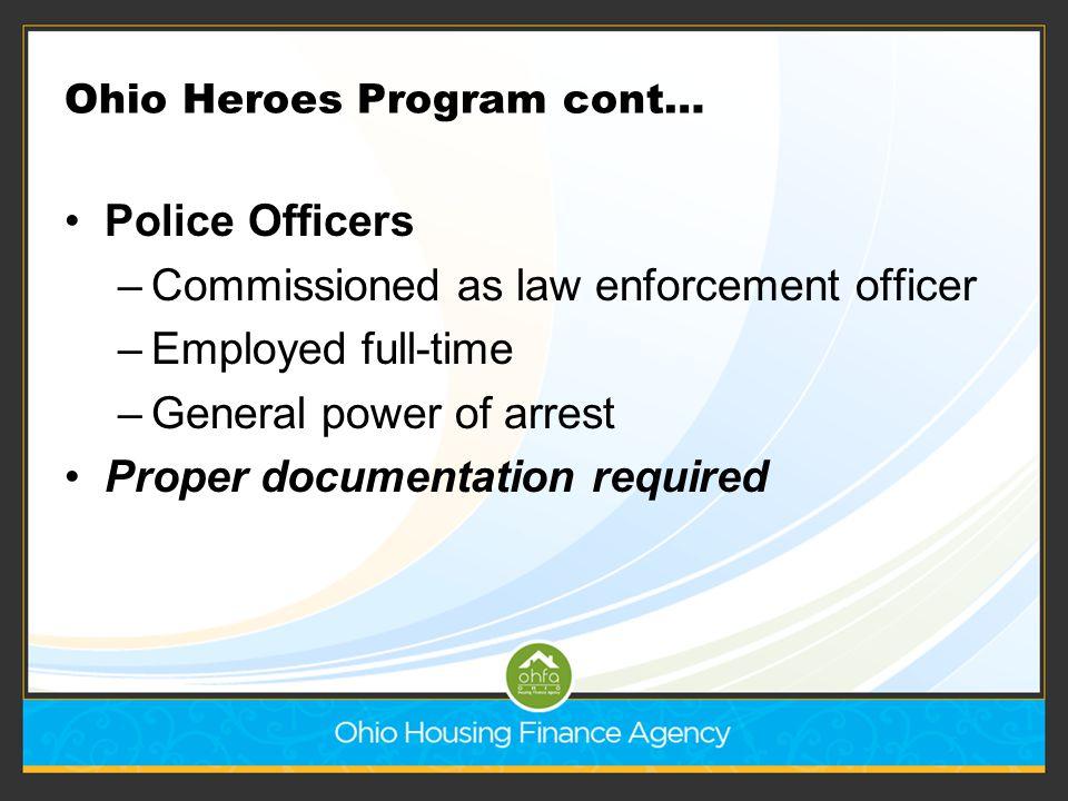 Ohio Heroes Program cont…