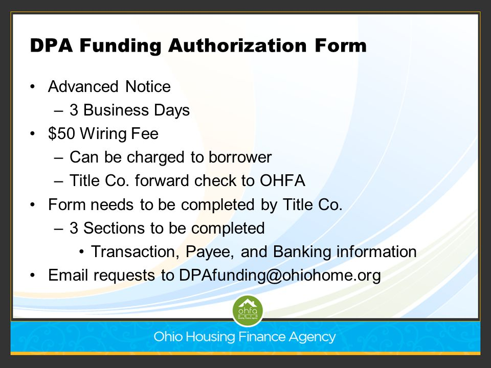 DPA Funding Authorization Form