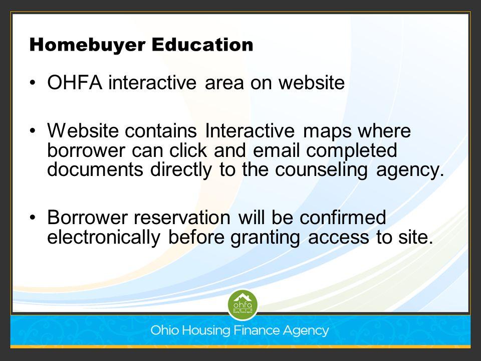 OHFA interactive area on website