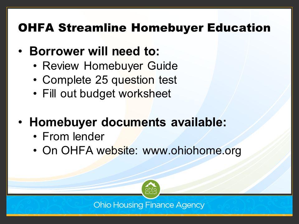 OHFA Streamline Homebuyer Education