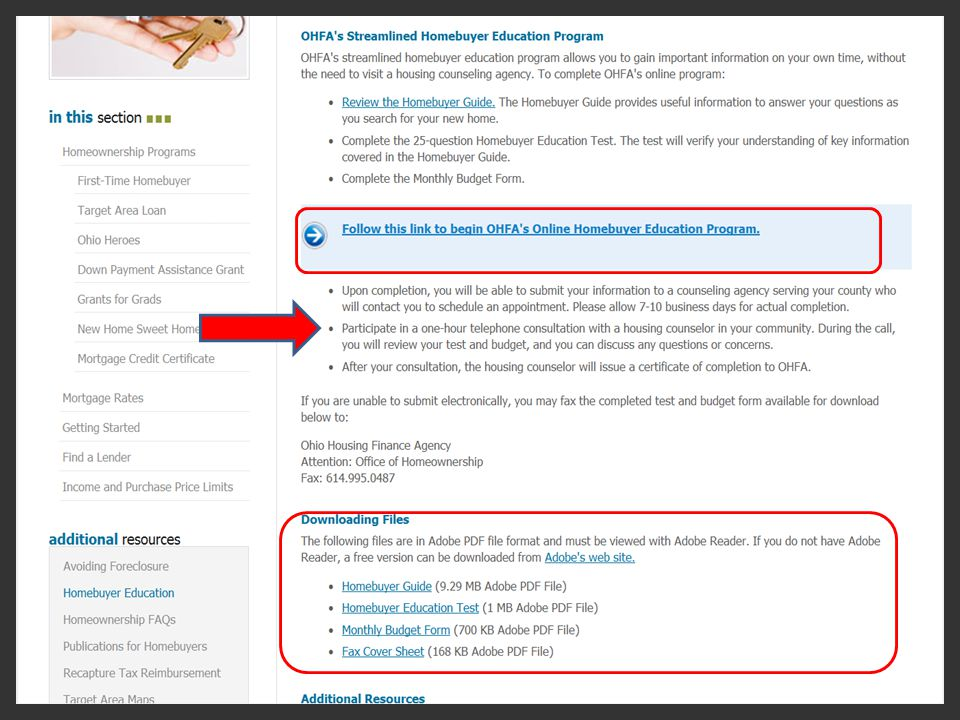 Here are the menu options for Homebuyer education documents circled in red.