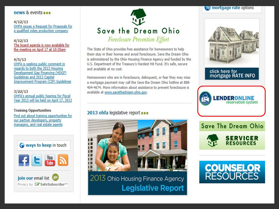 On the home page of our website in the lower right corner is the Lender Portal icon.