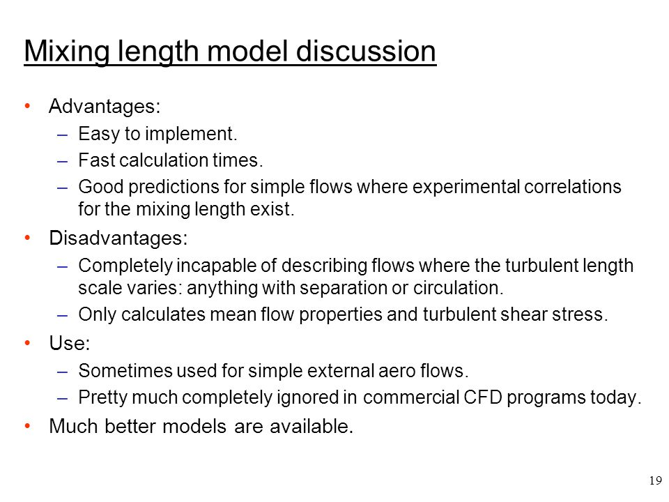 Mixing length model discussion