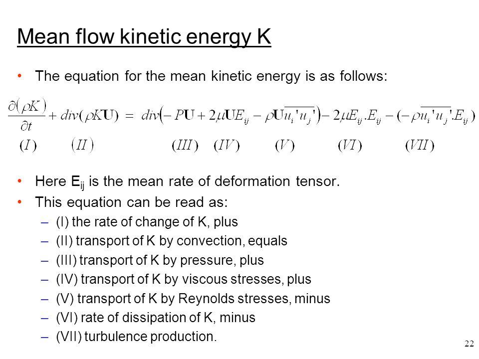 Mean flow kinetic energy K