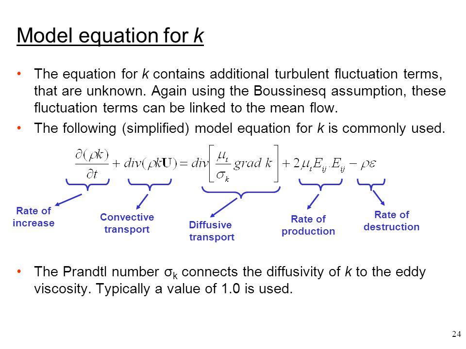 Model equation for k