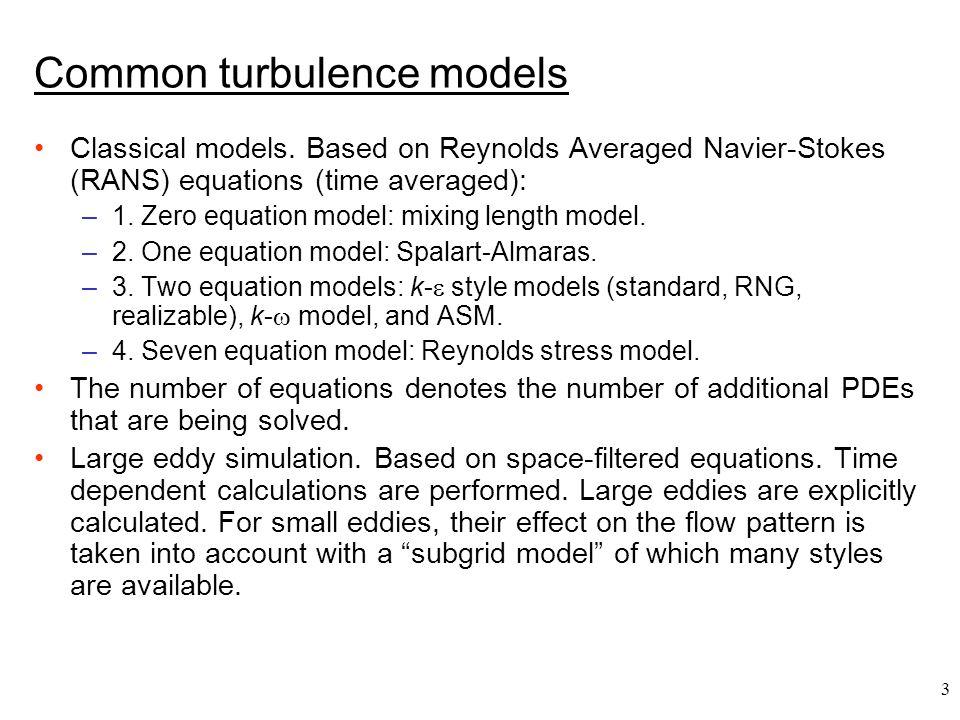 Common turbulence models
