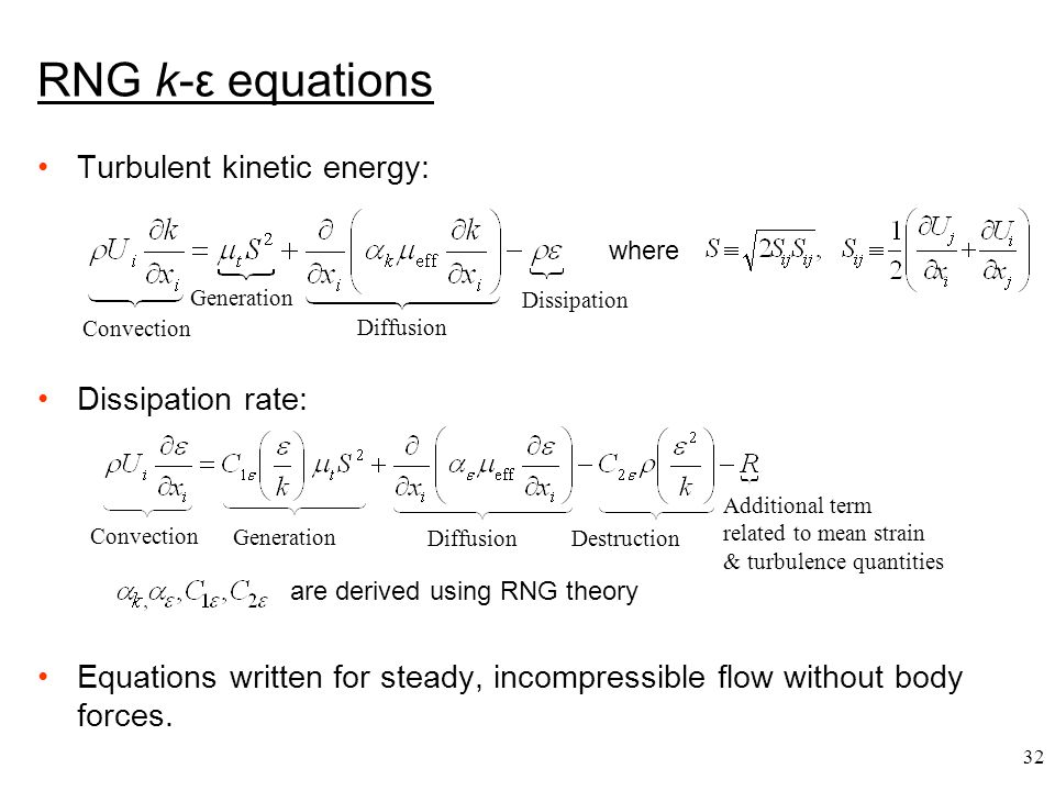 RNG k-ε equations Turbulent kinetic energy: Dissipation rate: