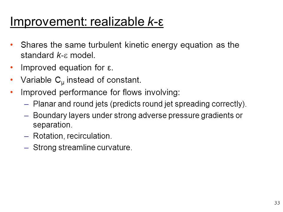 Improvement: realizable k-ε