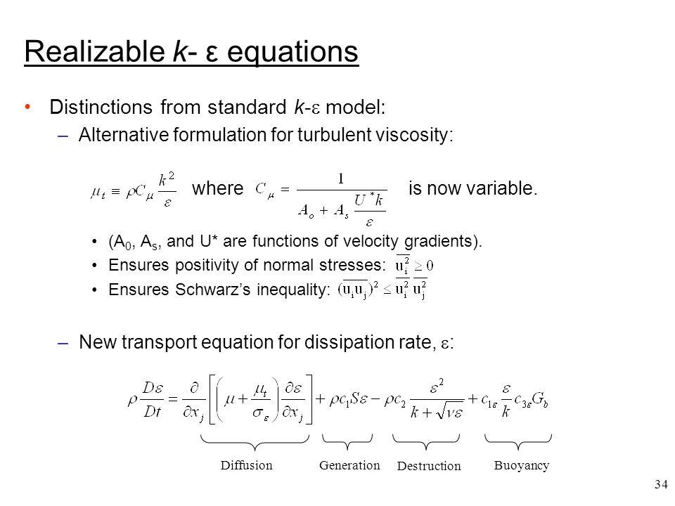 Realizable k- ε equations