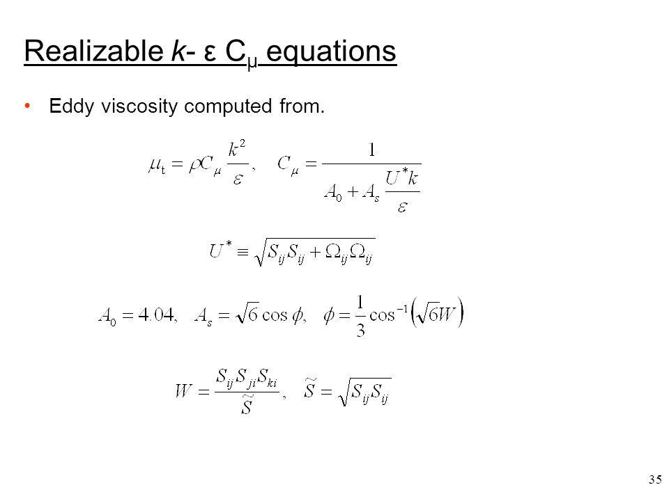 Realizable k- ε Cμ equations