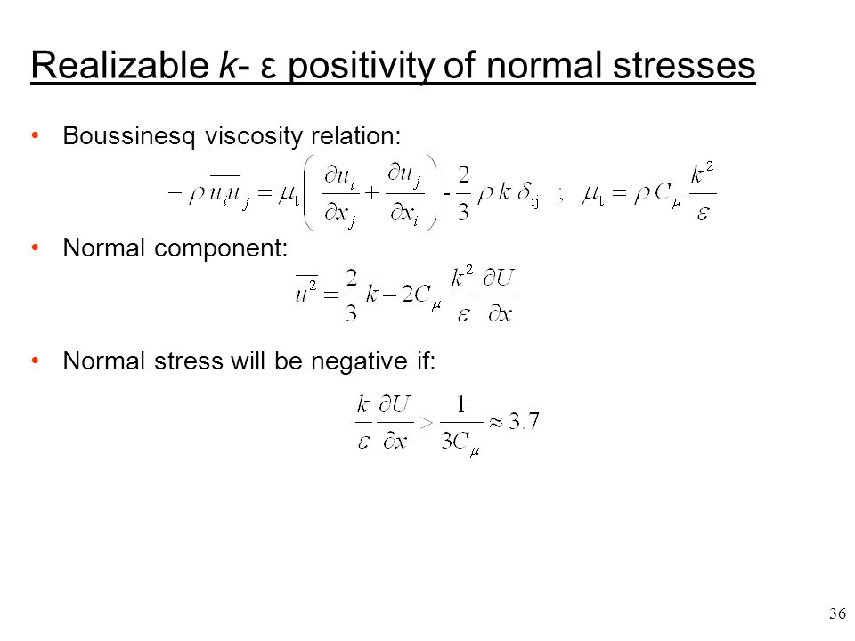 Realizable k- ε positivity of normal stresses